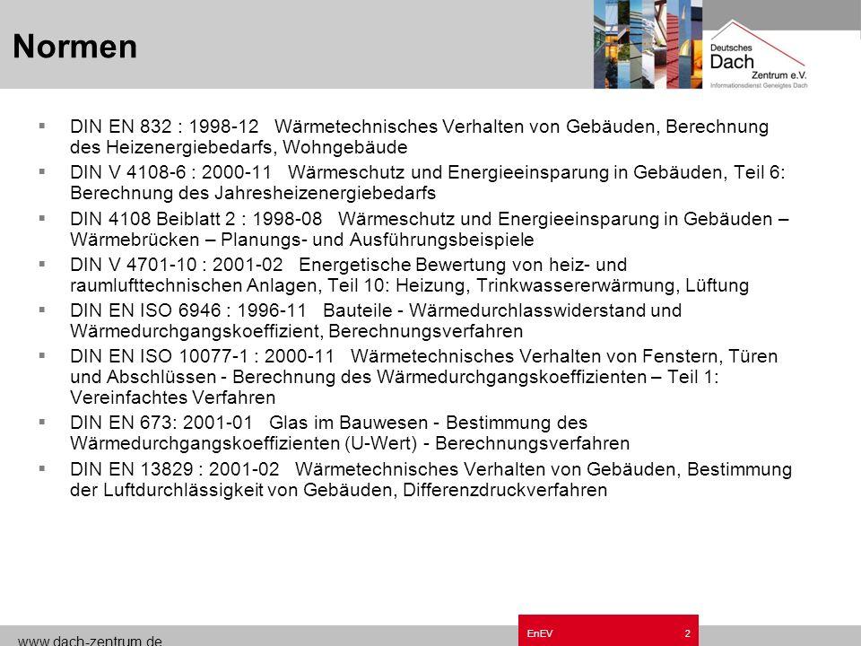www.dach-zentrum.de EnEV1 Grundzüge Energieeinsparverordnung EnEV