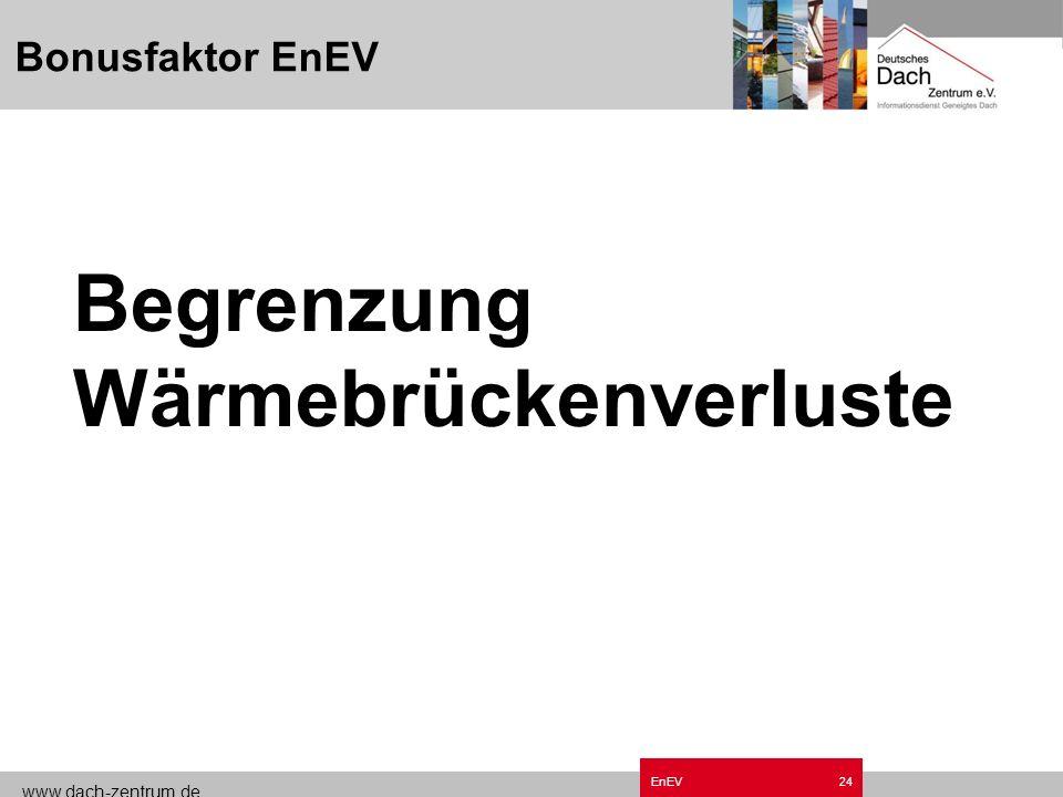 www.dach-zentrum.de EnEV23 Bonusfaktoren im Neubau Wärmebrückennachweis Luftdichtheit Erneuerbare Energien