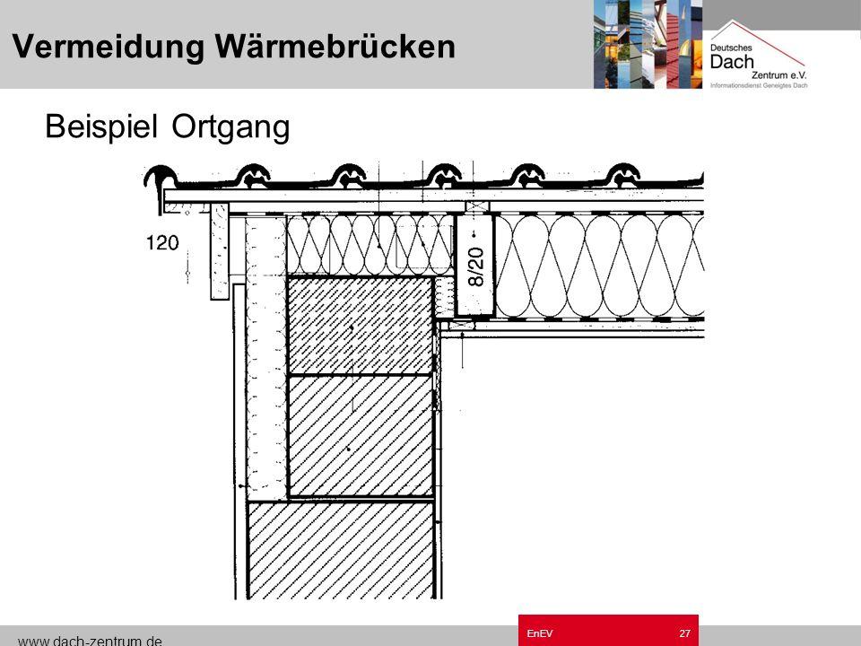 www.dach-zentrum.de EnEV26 Vermeidung von Wärmebrücken Bonusfaktor EnEV Pauschal ΔU wb = 0,1 W/m²k Wärmebrückenfreie Konstruktionen nach DIN 4108 Beib
