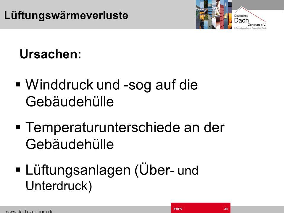 www.dach-zentrum.de EnEV33 Lüftungswärmeverluste gewollte Lüftungsvorgänge zur notwendigen Sicherstellung hygienisch erforderlicher Verhältnisse ungew