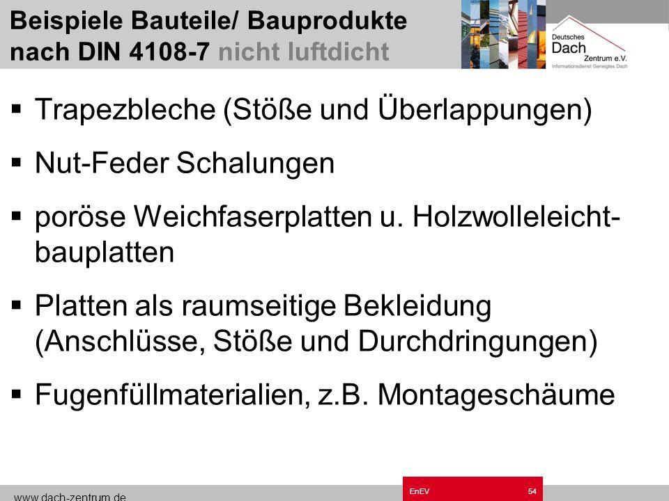 www.dach-zentrum.de EnEV53 Betonbauteile nach DIN 1045 Mauerwerk nur mit Putzschicht Holzwerkstoffe, Gipsfaser- oder Gipskarton- Bauplatten Faserzemen