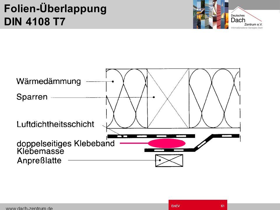 www.dach-zentrum.de EnEV60 ! Luftdicht Alle Anschlüsse, Stoßfugen, Überlappungen und Durchdringungen müssen luftdicht angeschlossen sein