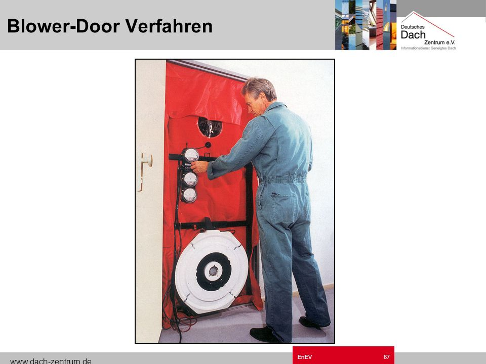 www.dach-zentrum.de EnEV66 Freie Lüftung (ohne Dichtheitsnachweis) n=0,7 h -1 Freie Lüftung mit Nachweis ( mit n 50 < 3,0 h -1 ) n=0,6 h -1 Nachweis g