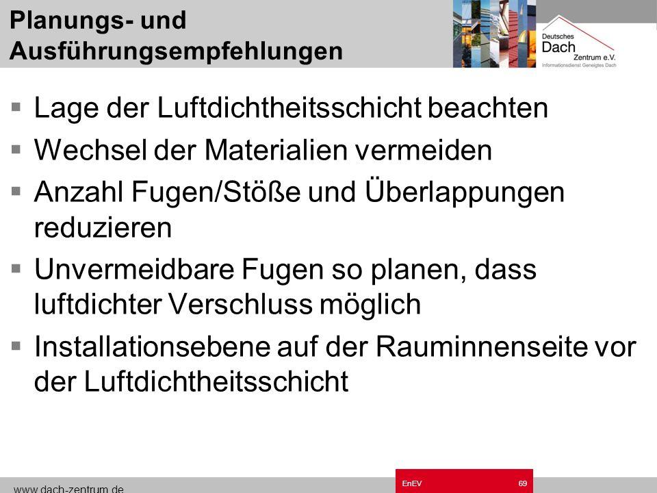 www.dach-zentrum.de EnEV68 Planungs- und Ausführungsempfehlungen Verträgliche Bau- und Werkstoffe Feuchte-, Oxidations- und UV-Beständigkeit Reißfest