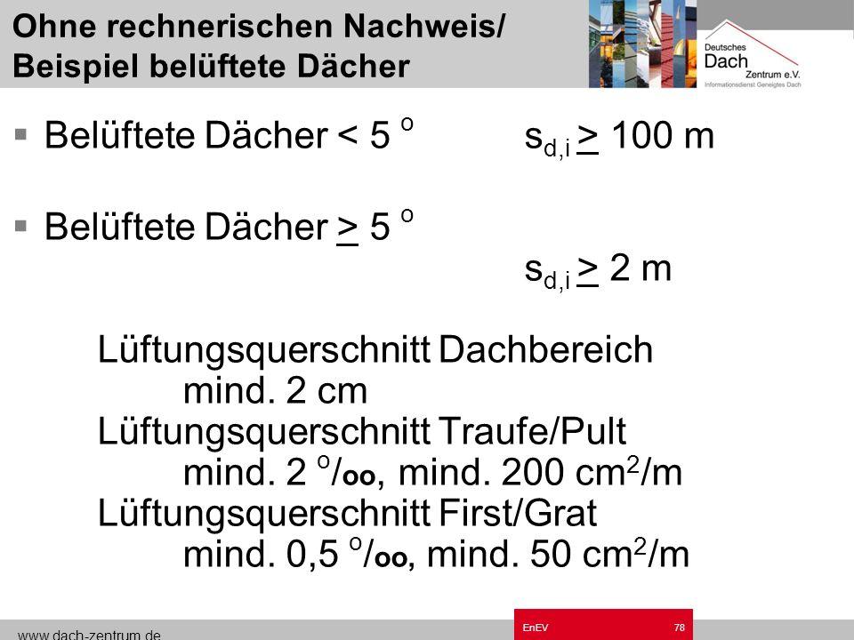 www.dach-zentrum.de EnEV77 Feuchteschutz DIN 4108-3 Schutz vor schädlichem Tauwasseranfall : Rechnerischer Nachweis Vereinfachte Nachweise