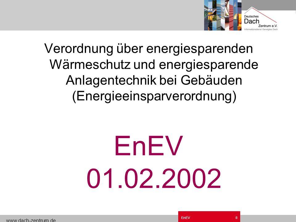 www.dach-zentrum.de EnEV7 Entwicklung des Wärmebedarfs im Einfamilienhaus 40 80 120 160 240 15 25 30 55 Niedrigenergie- haus Transmissionswärmebedarf