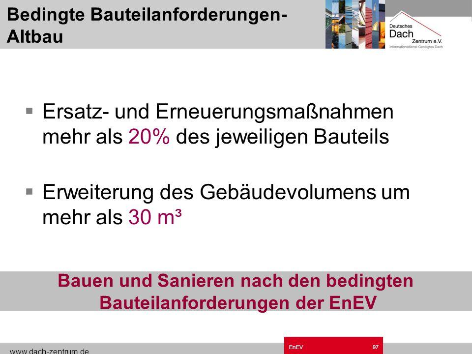 www.dach-zentrum.de EnEV96 Altbauanteil-energetisch 95% Altbauten in Deutschland Altbauanteil gesamt 77%