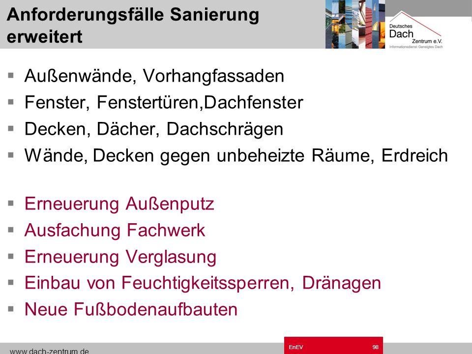www.dach-zentrum.de EnEV97 Bedingte Bauteilanforderungen- Altbau Ersatz- und Erneuerungsmaßnahmen mehr als 20% des jeweiligen Bauteils Erweiterung des