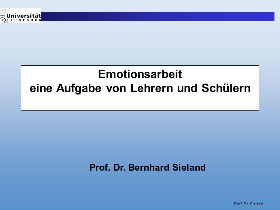 Prof. Dr. Sieland Emotionsarbeit eine Aufgabe von Lehrern und Schülern Prof. Dr. Bernhard Sieland