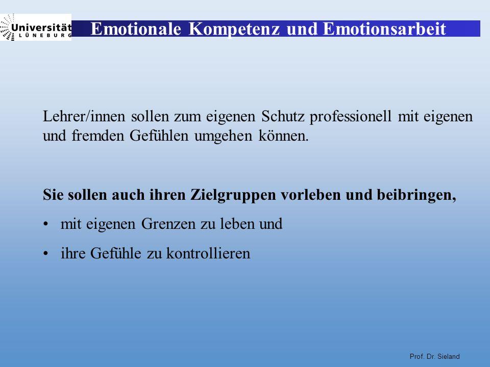 Prof. Dr. Sieland Lehrer/innen sollen zum eigenen Schutz professionell mit eigenen und fremden Gefühlen umgehen können. Sie sollen auch ihren Zielgrup