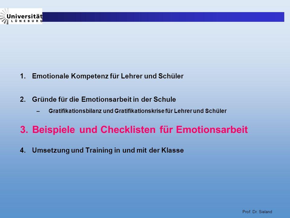 Prof. Dr. Sieland 1.Emotionale Kompetenz für Lehrer und Schüler 2.Gründe für die Emotionsarbeit in der Schule –Gratifikationsbilanz und Gratifikations