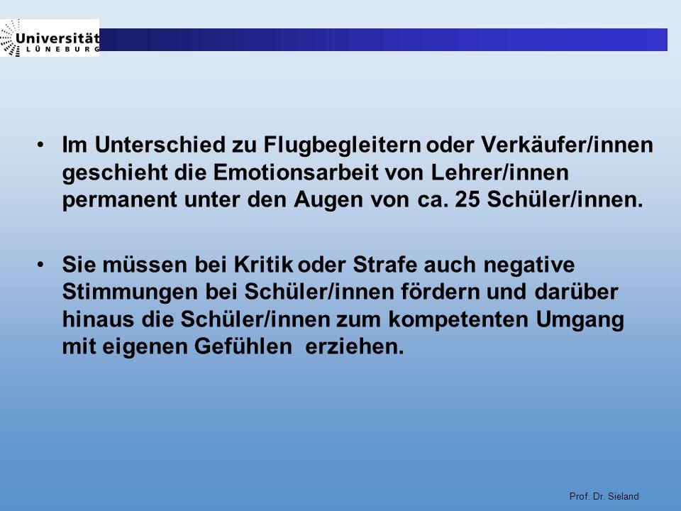 Prof. Dr. Sieland Im Unterschied zu Flugbegleitern oder Verkäufer/innen geschieht die Emotionsarbeit von Lehrer/innen permanent unter den Augen von ca