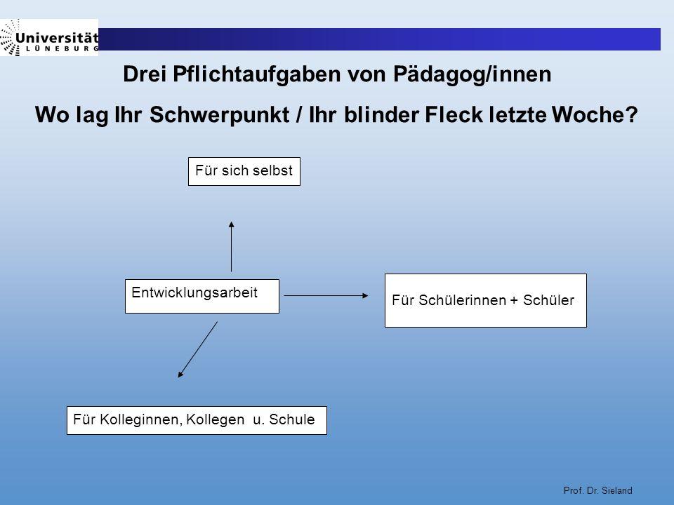 Prof. Dr. Sieland Entwicklungsarbeit Für sich selbst Für Schülerinnen + Schüler Für Kolleginnen, Kollegen u. Schule Drei Pflichtaufgaben von Pädagog/i