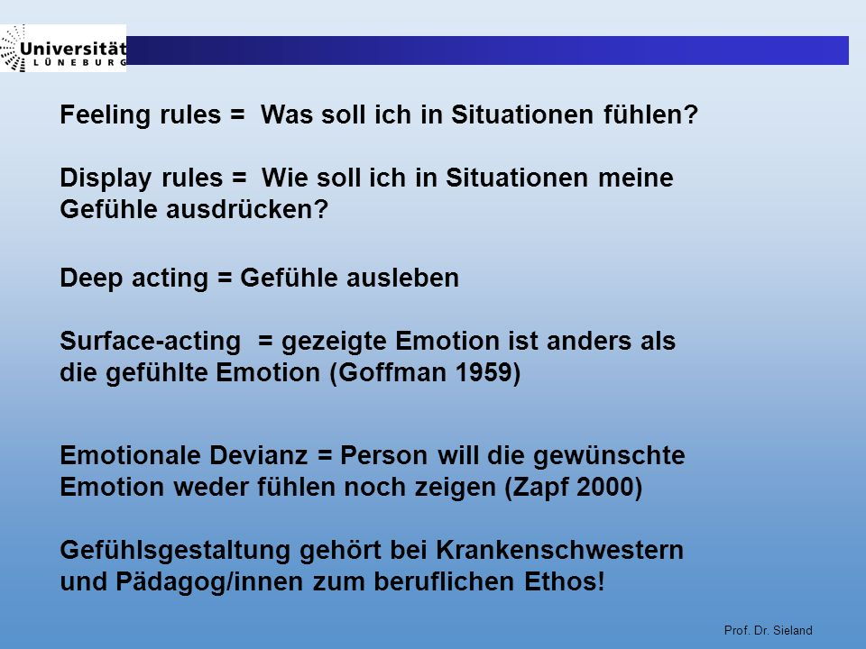 Prof. Dr. Sieland Feeling rules = Was soll ich in Situationen fühlen? Display rules = Wie soll ich in Situationen meine Gefühle ausdrücken? Deep actin
