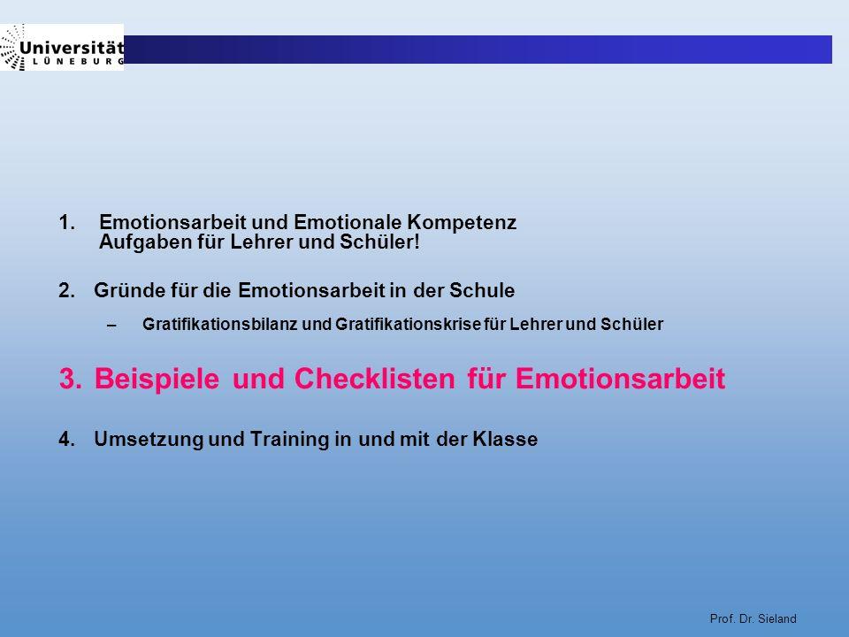 Prof. Dr. Sieland 1. Emotionsarbeit und Emotionale Kompetenz Aufgaben für Lehrer und Schüler! 2.Gründe für die Emotionsarbeit in der Schule –Gratifika