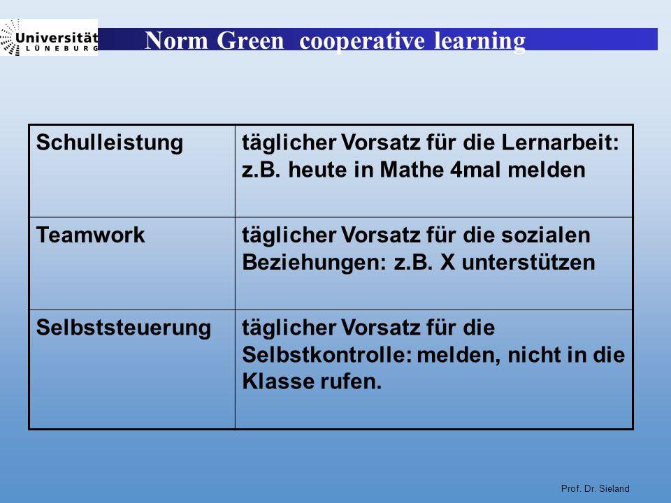 Prof. Dr. Sieland Norm Green cooperative learning Schulleistungtäglicher Vorsatz für die Lernarbeit: z.B. heute in Mathe 4mal melden Teamworktäglicher