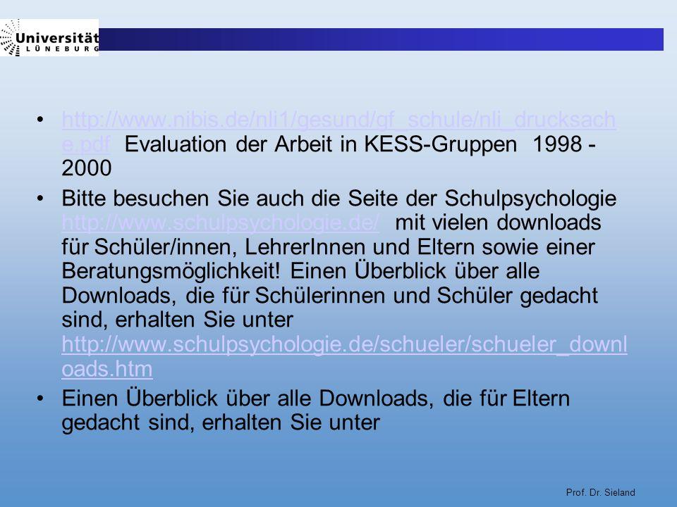 Prof. Dr. Sieland http://www.nibis.de/nli1/gesund/gf_schule/nli_drucksach e.pdf Evaluation der Arbeit in KESS-Gruppen 1998 - 2000http://www.nibis.de/n