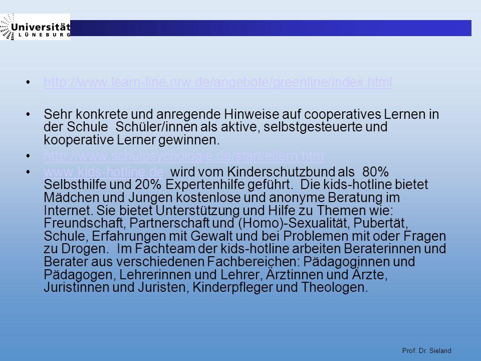 Prof. Dr. Sieland http://www.learn-line.nrw.de/angebote/greenline/index.html Sehr konkrete und anregende Hinweise auf cooperatives Lernen in der Schul