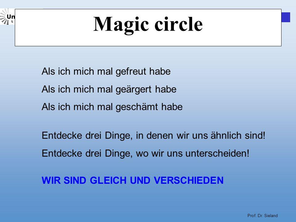 Prof. Dr. Sieland Magic circle Als ich mich mal gefreut habe Als ich mich mal geärgert habe Als ich mich mal geschämt habe Entdecke drei Dinge, in den
