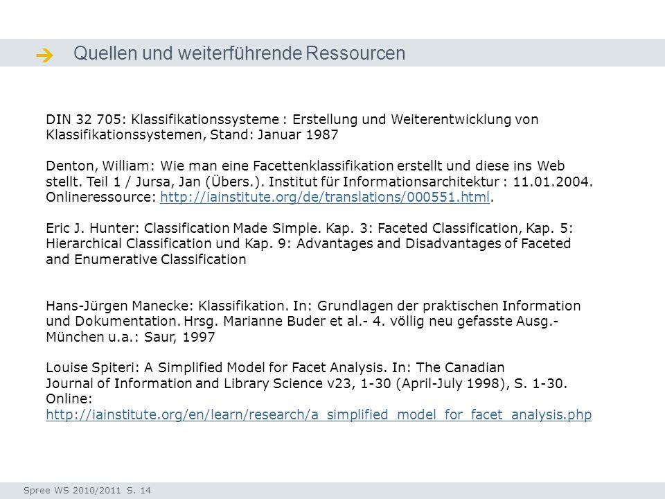 Quellen und weiterführende Ressourcen Quellen / Ressourcen DIN 32 705: Klassifikationssysteme : Erstellung und Weiterentwicklung von Klassifikationssy