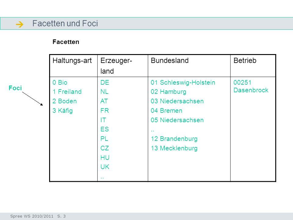 Facetten und Foci Facetten Seminar I-Prax: Inhaltserschließung visueller Medien, 5.10.2004 Spree WS 2010/2011 S. 3 Haltungs-artErzeuger- land Bundesla