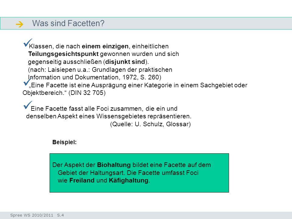 Facettenklassifikation Seminar I-Prax: Inhaltserschließung visueller Medien, 5.10.2004 Spree WS 2010/2011 S.