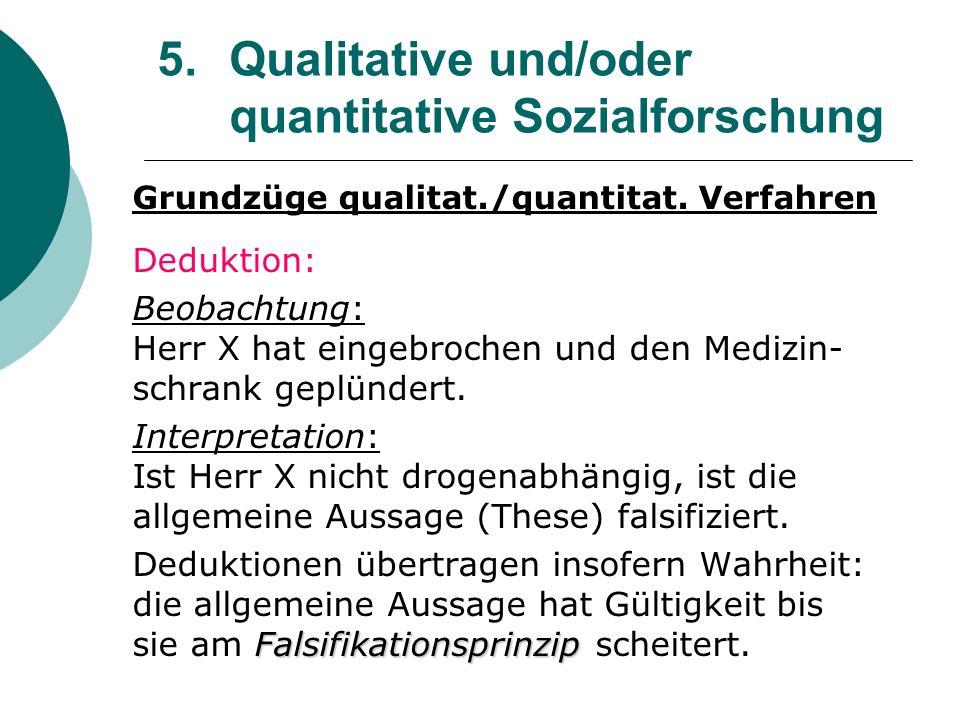 5. Qualitative und/oder quantitative Sozialforschung Grundzüge qualitat./quantitat. Verfahren Deduktion: Beobachtung: Herr X hat eingebrochen und den