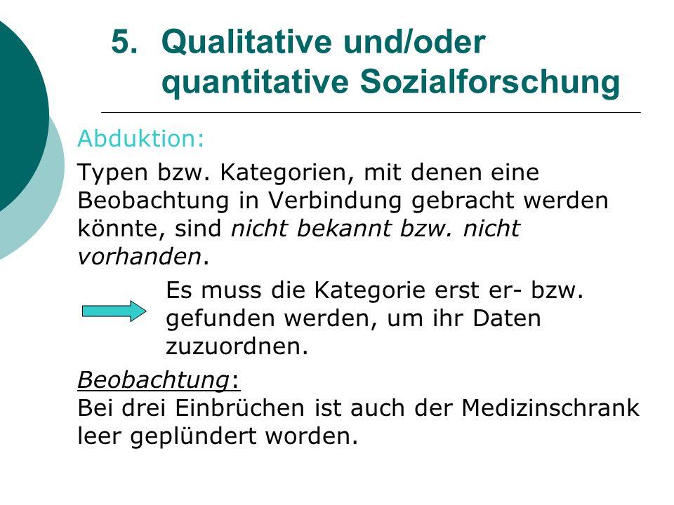 5. Qualitative und/oder quantitative Sozialforschung Abduktion: Typen bzw. Kategorien, mit denen eine Beobachtung in Verbindung gebracht werden könnte