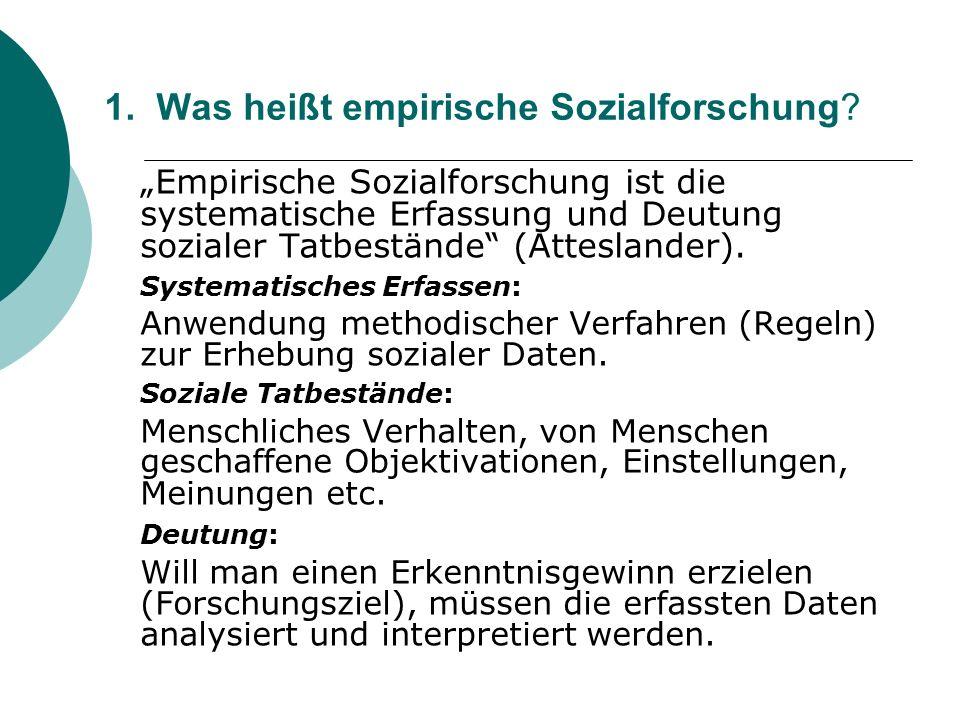 1. Was heißt empirische Sozialforschung? Empirische Sozialforschung ist die systematische Erfassung und Deutung sozialer Tatbestände (Atteslander). Sy