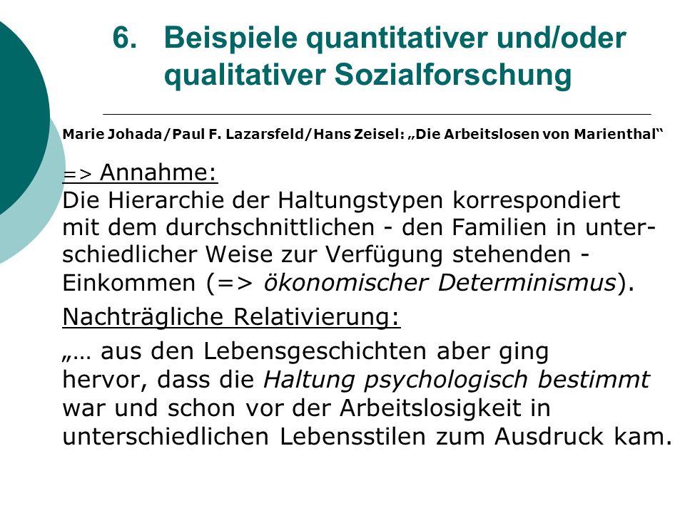 6. Beispiele quantitativer und/oder qualitativer Sozialforschung Marie Johada/Paul F. Lazarsfeld/Hans Zeisel: Die Arbeitslosen von Marienthal => Annah