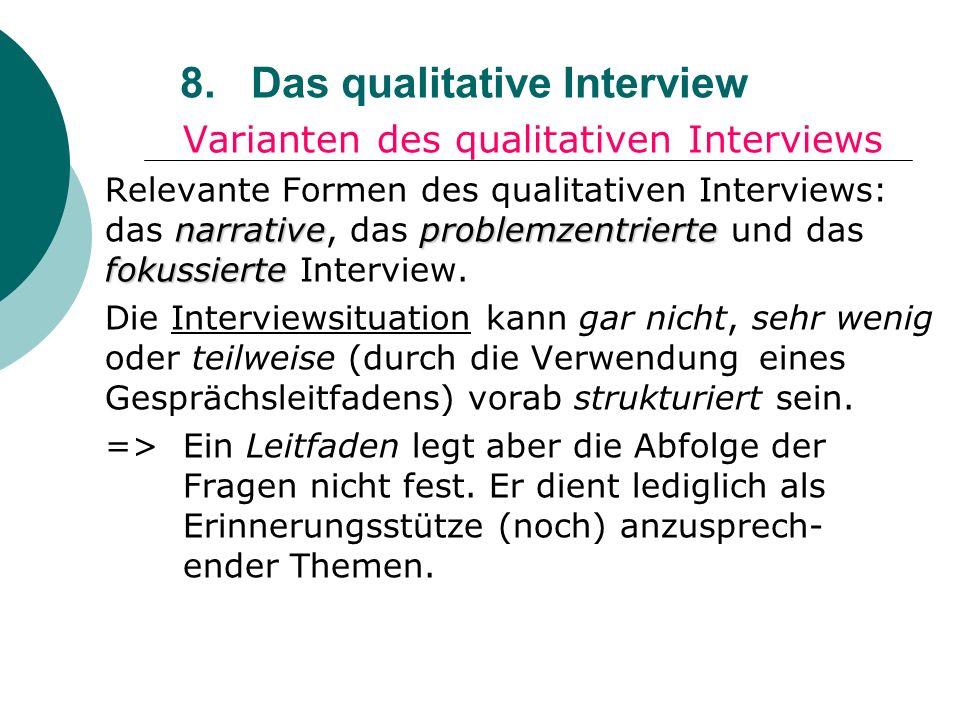 8. Das qualitative Interview Varianten des qualitativen Interviews narrativeproblemzentrierte fokussierte Relevante Formen des qualitativen Interviews