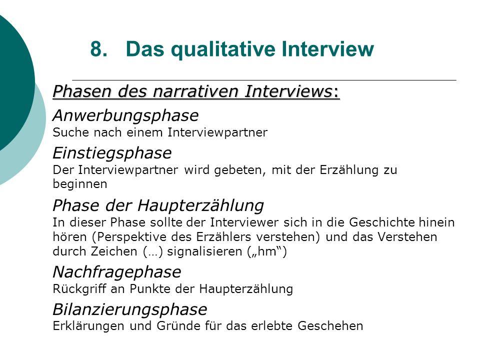 8. Das qualitative Interview Phasen des narrativen Interviews: Anwerbungsphase Suche nach einem Interviewpartner Einstiegsphase Der Interviewpartner w