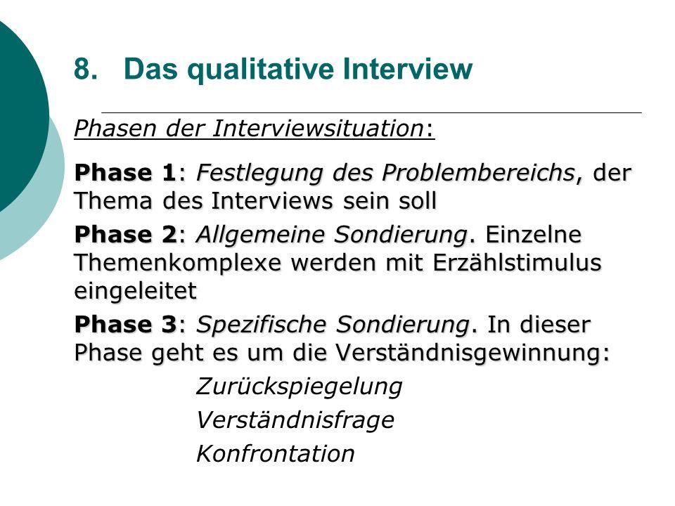 8. Das qualitative Interview Phasen der Interviewsituation: Phase 1: Festlegung des Problembereichs, der Thema des Interviews sein soll Phase 2: Allge