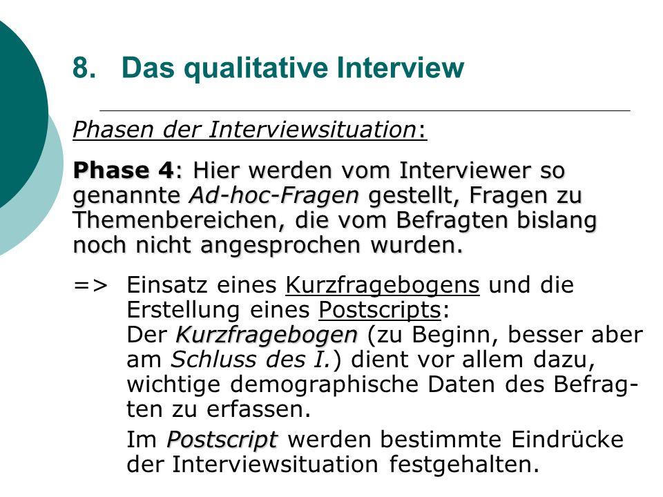 8. Das qualitative Interview Phasen der Interviewsituation: Phase 4: Hier werden vom Interviewer so genannte Ad-hoc-Fragen gestellt, Fragen zu Themenb