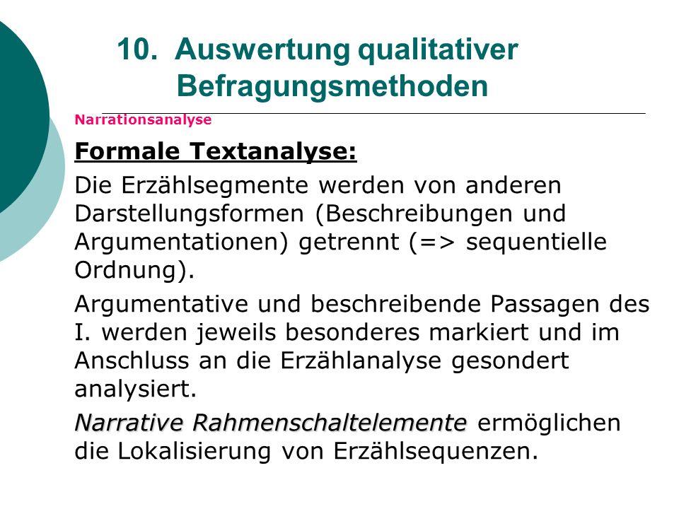 10. Auswertung qualitativer Befragungsmethoden Narrationsanalyse Formale Textanalyse: Die Erzählsegmente werden von anderen Darstellungsformen (Beschr