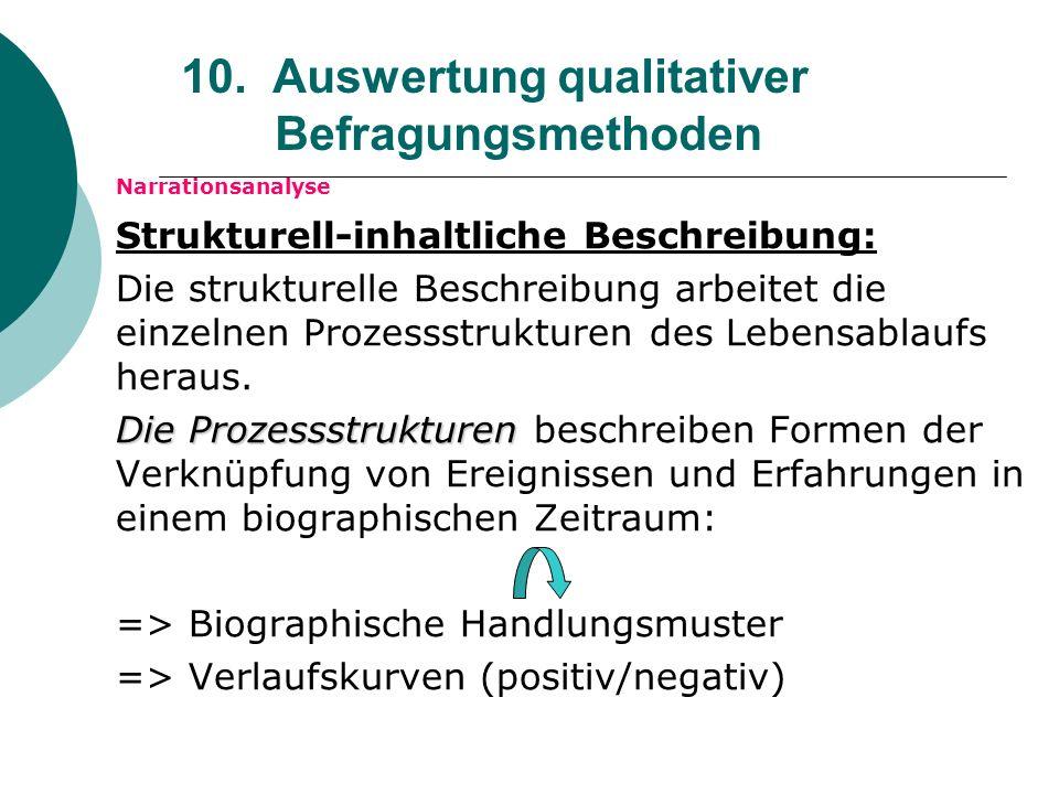 10. Auswertung qualitativer Befragungsmethoden Narrationsanalyse Strukturell-inhaltliche Beschreibung: Die strukturelle Beschreibung arbeitet die einz