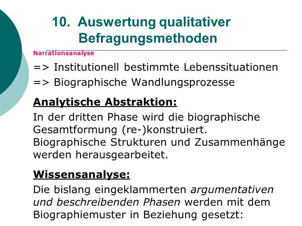 10. Auswertung qualitativer Befragungsmethoden Narrationsanalyse => Institutionell bestimmte Lebenssituationen => Biographische Wandlungsprozesse Anal