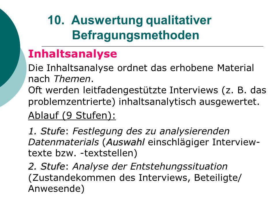 10. Auswertung qualitativer Befragungsmethoden Inhaltsanalyse Die Inhaltsanalyse ordnet das erhobene Material nach Themen. Oft werden leitfadengestütz