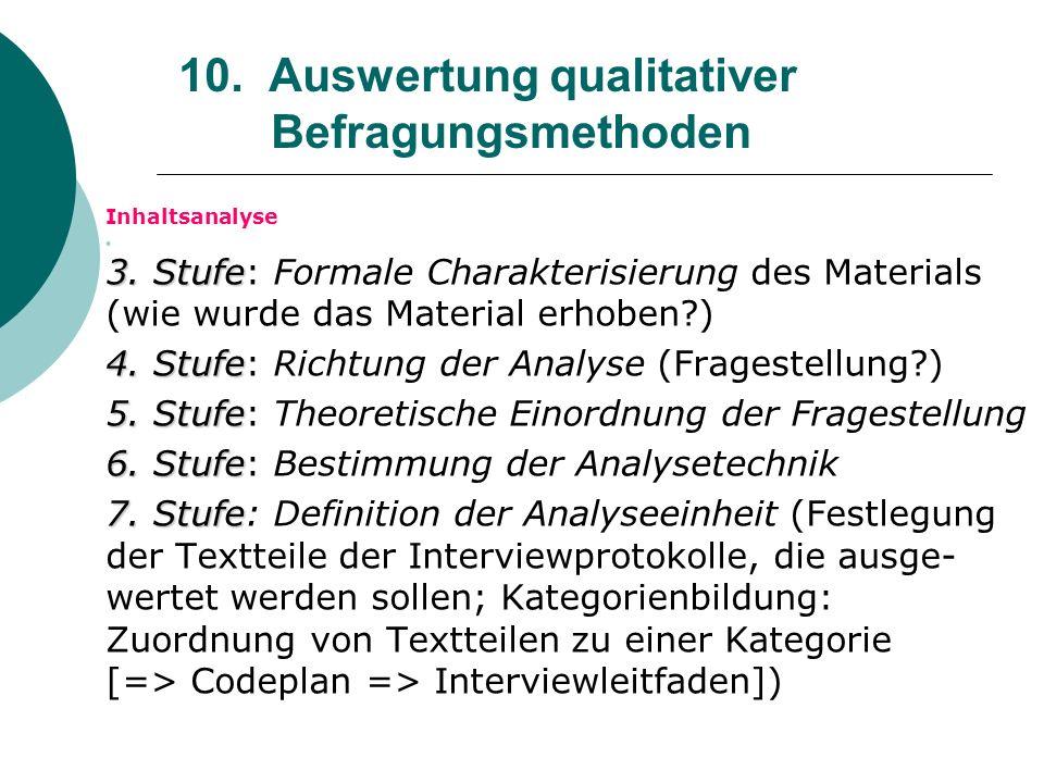 10. Auswertung qualitativer Befragungsmethoden Inhaltsanalyse 3. Stufe 3. Stufe: Formale Charakterisierung des Materials (wie wurde das Material erhob