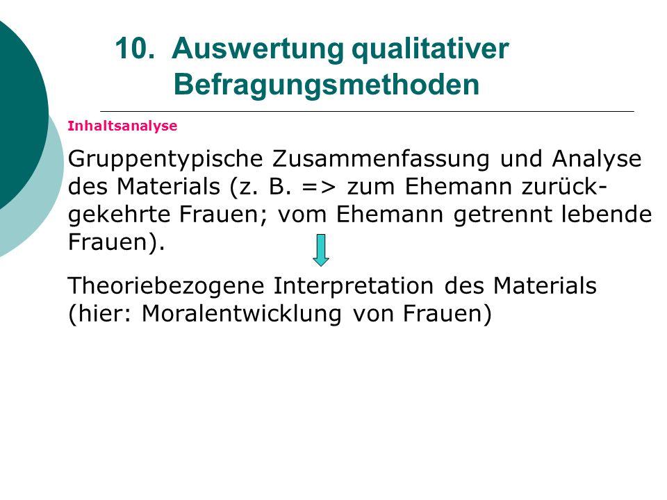 10. Auswertung qualitativer Befragungsmethoden Inhaltsanalyse Gruppentypische Zusammenfassung und Analyse des Materials (z. B. => zum Ehemann zurück-