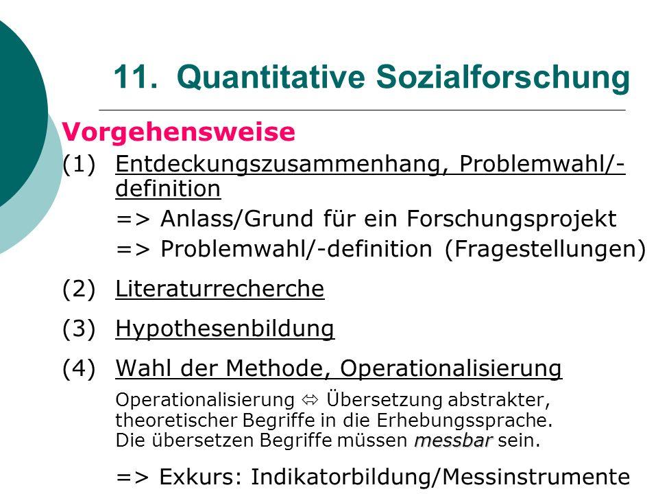 11. Quantitative Sozialforschung Vorgehensweise (1) Entdeckungszusammenhang, Problemwahl/- definition => Anlass/Grund für ein Forschungsprojekt => Pro