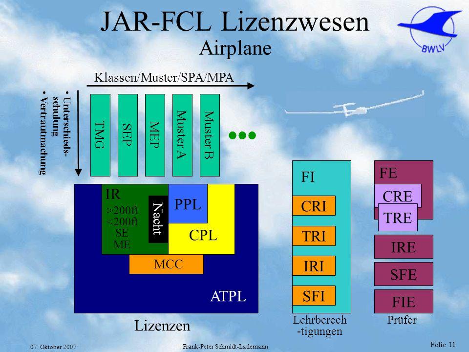 Folie 11 07. Oktober 2007 Frank-Peter Schmidt-Lademann JAR-FCL Lizenzwesen Airplane ATPL CPL PPL Nacht IR MCC >200ft <200ft SE ME TMG SEP MEP Muster A