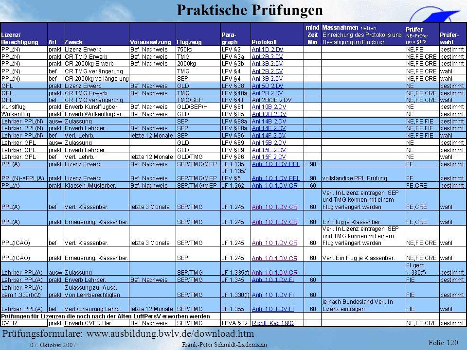 Folie 120 07. Oktober 2007 Frank-Peter Schmidt-Lademann Praktische Prüfungen Prüfungsformulare: www.ausbildung.bwlv.de/download.htm