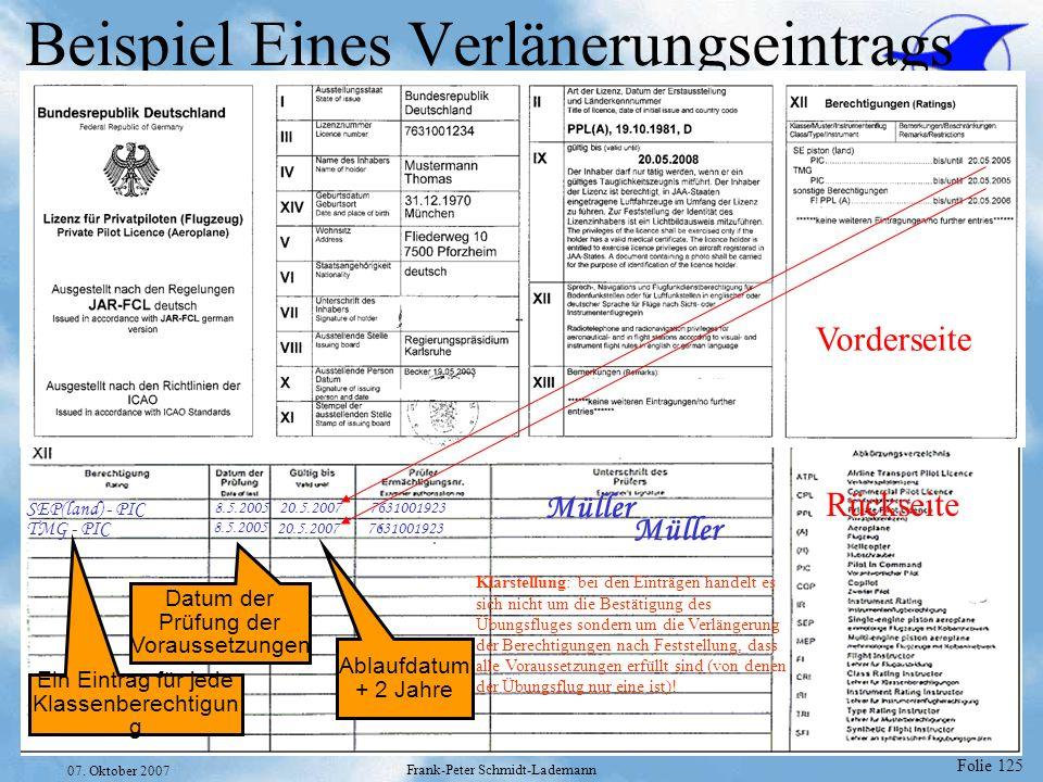 Folie 125 07. Oktober 2007 Frank-Peter Schmidt-Lademann Beispiel Eines Verlänerungseintrags Vorderseite Rückseite SEP(land) - PIC 20.5.2007 7631001923