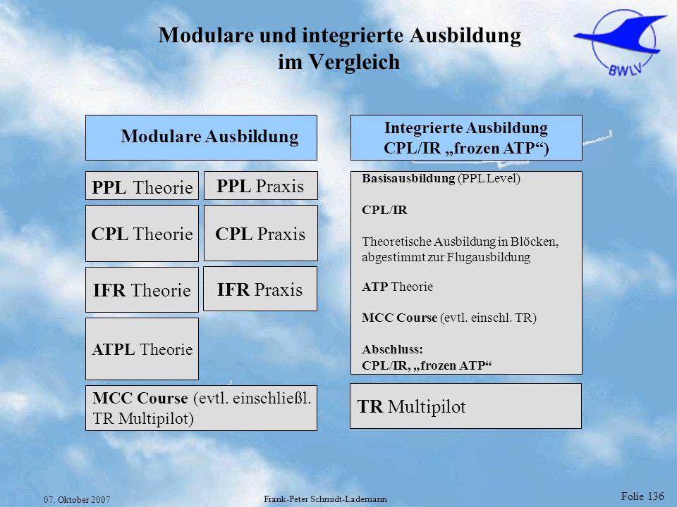 Folie 136 07. Oktober 2007 Frank-Peter Schmidt-Lademann Modulare und integrierte Ausbildung im Vergleich MCC Course (evtl. einschließl. TR Multipilot)