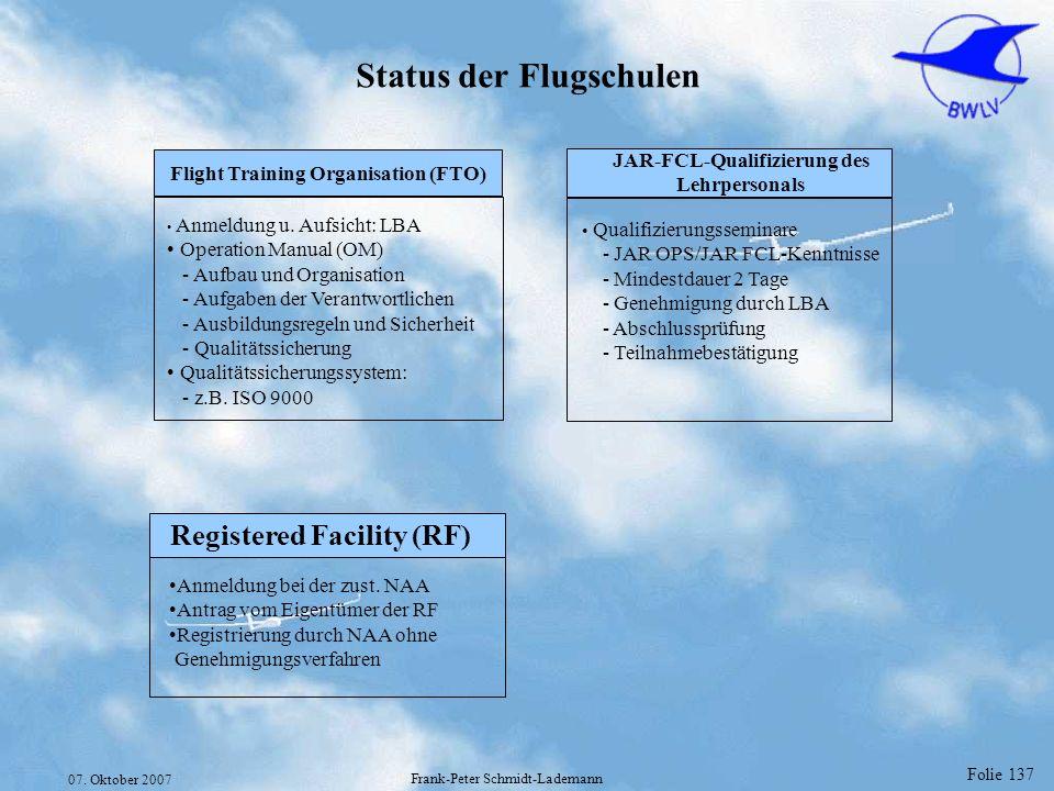 Folie 137 07. Oktober 2007 Frank-Peter Schmidt-Lademann Status der Flugschulen Qualifizierungsseminare - JAR OPS/JAR FCL-Kenntnisse - Mindestdauer 2 T
