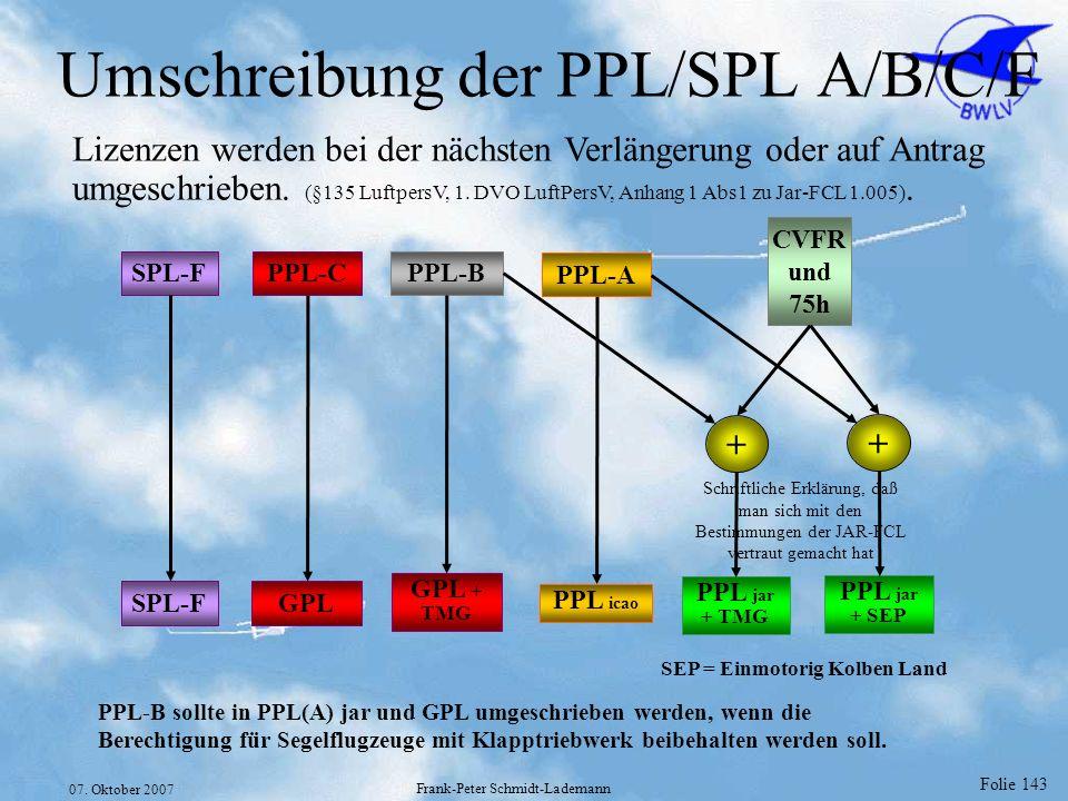 Folie 143 07. Oktober 2007 Frank-Peter Schmidt-Lademann Umschreibung der PPL/SPL A/B/C/F Lizenzen werden bei der nächsten Verlängerung oder auf Antrag