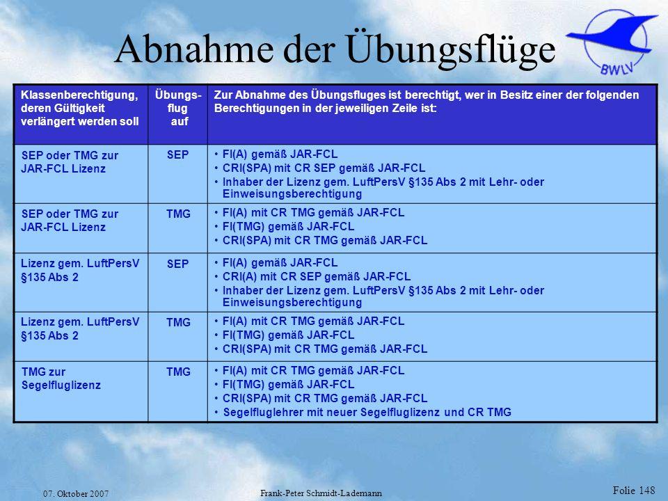 Folie 148 07. Oktober 2007 Frank-Peter Schmidt-Lademann Abnahme der Übungsflüge Klassenberechtigung, deren Gültigkeit verlängert werden soll Übungs- f
