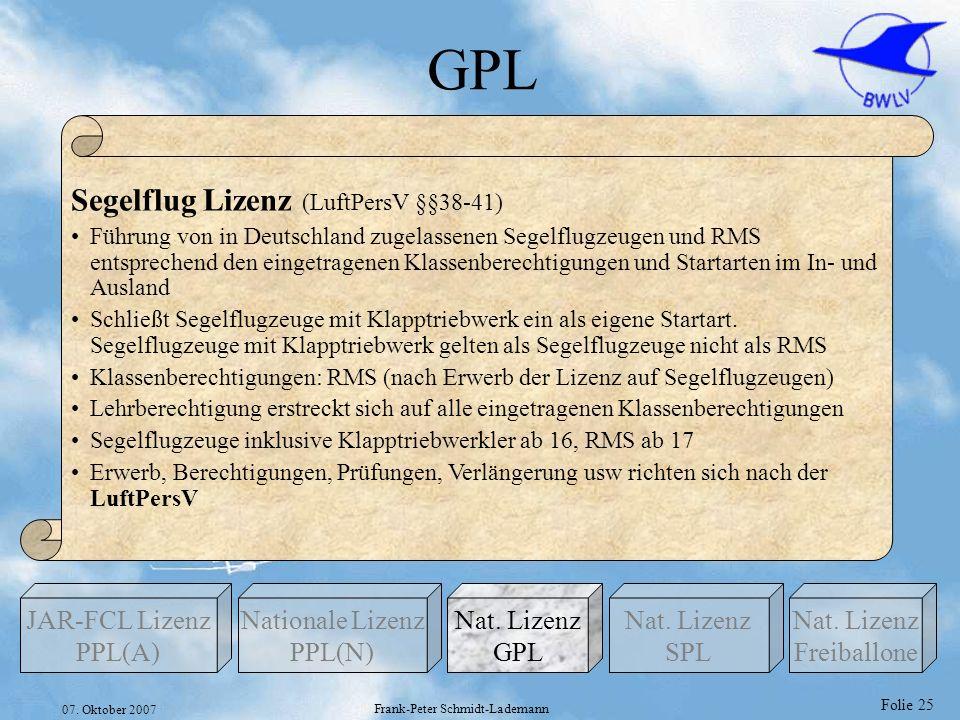 Folie 25 07. Oktober 2007 Frank-Peter Schmidt-Lademann GPL Nationale Lizenz PPL(N) Nat. Lizenz GPL JAR-FCL Lizenz PPL(A) Nat. Lizenz Freiballone Nat.