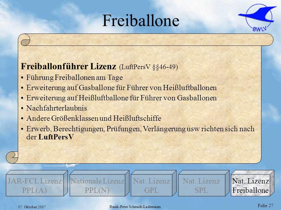 Folie 27 07. Oktober 2007 Frank-Peter Schmidt-Lademann Freiballone Nationale Lizenz PPL(N) Nat. Lizenz GPL JAR-FCL Lizenz PPL(A) Nat. Lizenz Freiballo
